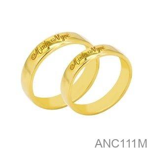 Nhẫn Cưới Vàng Vàng 18K Đính Đá CZ - ANC111M