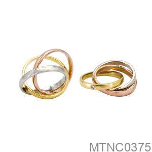 Nhẫn Cưới Hai Màu Vàng 14K Đính Đá CZ - MTNC0375