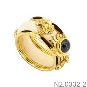 Nhẫn Nam Lông Voi Vàng Vàng 10K Đá Đen - N2.0032-2