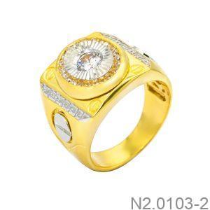 Nhẫn Nam Hai Màu Vàng 10k Đá Trắng - N2.0103-2