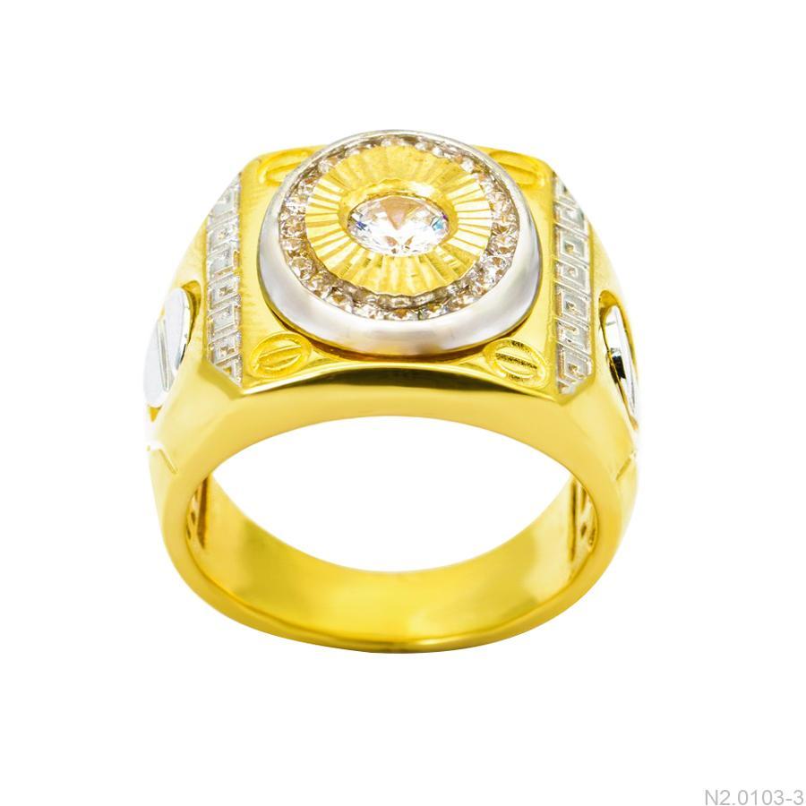 Nhẫn Nam Hai Màu Vàng 10k Đá Trắng - N2.0103-3