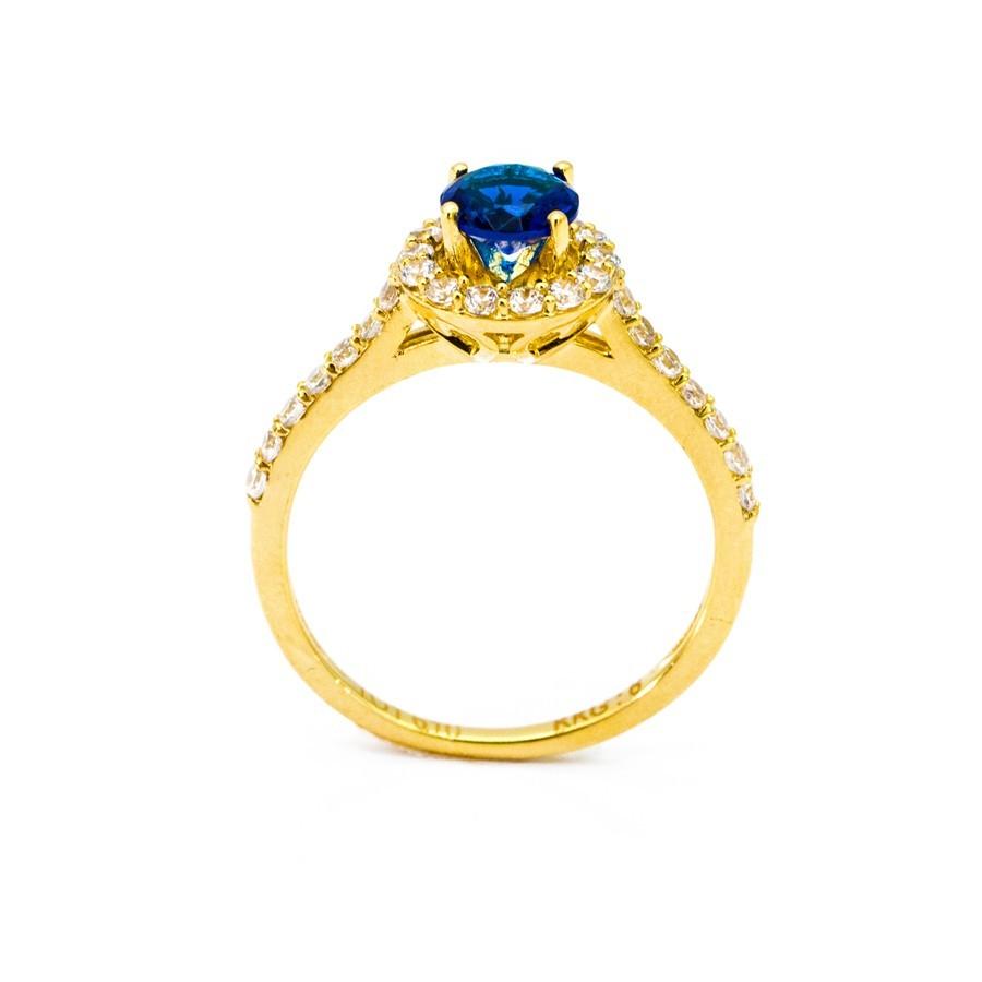 Nhẫn Nữ Vàng 18k Đính Đá Sapphire Xanh - N3021-5