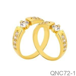 Nhẫn Cưới Vàng Vàng 18K Đính Đá CZ - QNC72-1