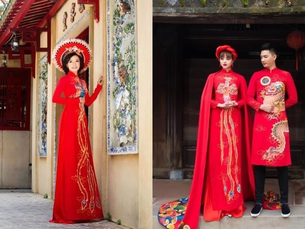 áo dài cưới long phụng