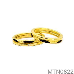 Nhẫn Cưới Lông Voi Vàng Vàng 18K Đính Đá CZ - MTN0822