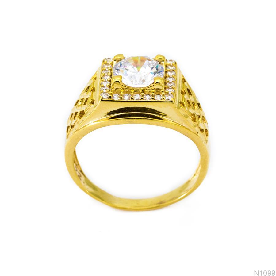 Nhẫn Nam Vàng Vàng 18k Đá Trắng - N1099