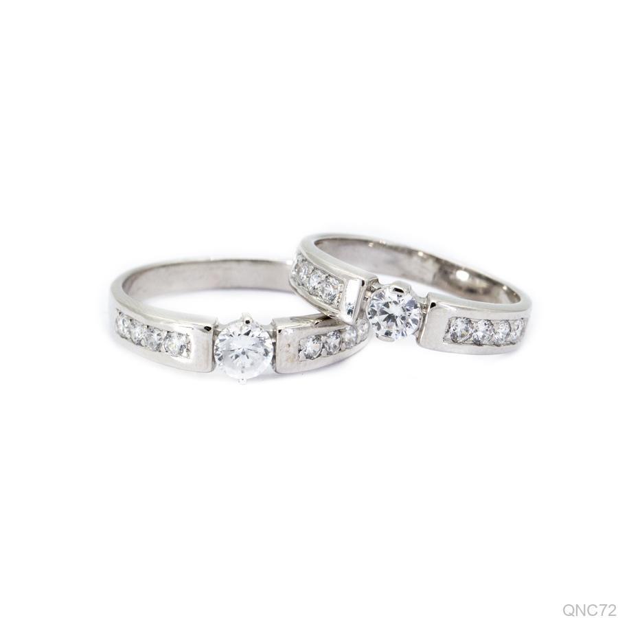 nhẫn cưới vàng trắng 10k QNC27-1