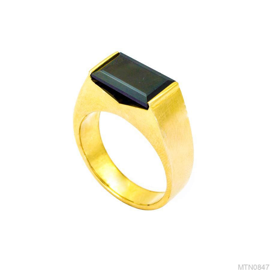 MTN0847-1 Nhẫn nam vàng 14k đá Sapphire đen APJ