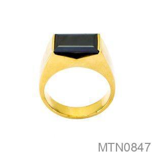 Nhẫn Nam Vàng Vàng 14K Đá Đen - MTN0847