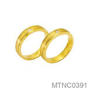 Nhẫn Cưới Vàng Vàng 18K Đính Đá CZ - MTNC0391