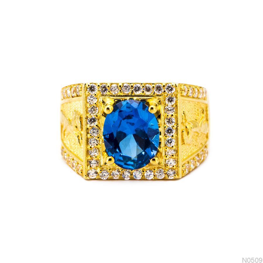 N0509-2 Nhẫn nam vàng 18k đá shapire xanh apj