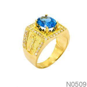 Nhẫn Nam Ngựa Vàng Vàng 18k Đá Xanh Dương - N0509