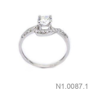 Nhẫn Nữ Vàng Trắng 10K Đính Đá CZ - N1.0087.1