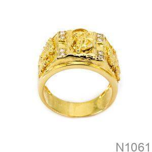 Nhẫn Nam Khắc Chữ Vàng Vàng 18K - N1061