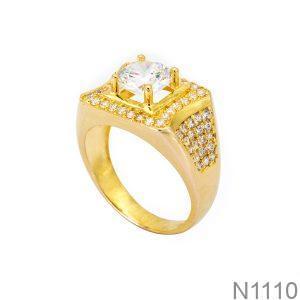 Nhẫn Nam Vàng Vàng 18k Đá Trắng - N1110