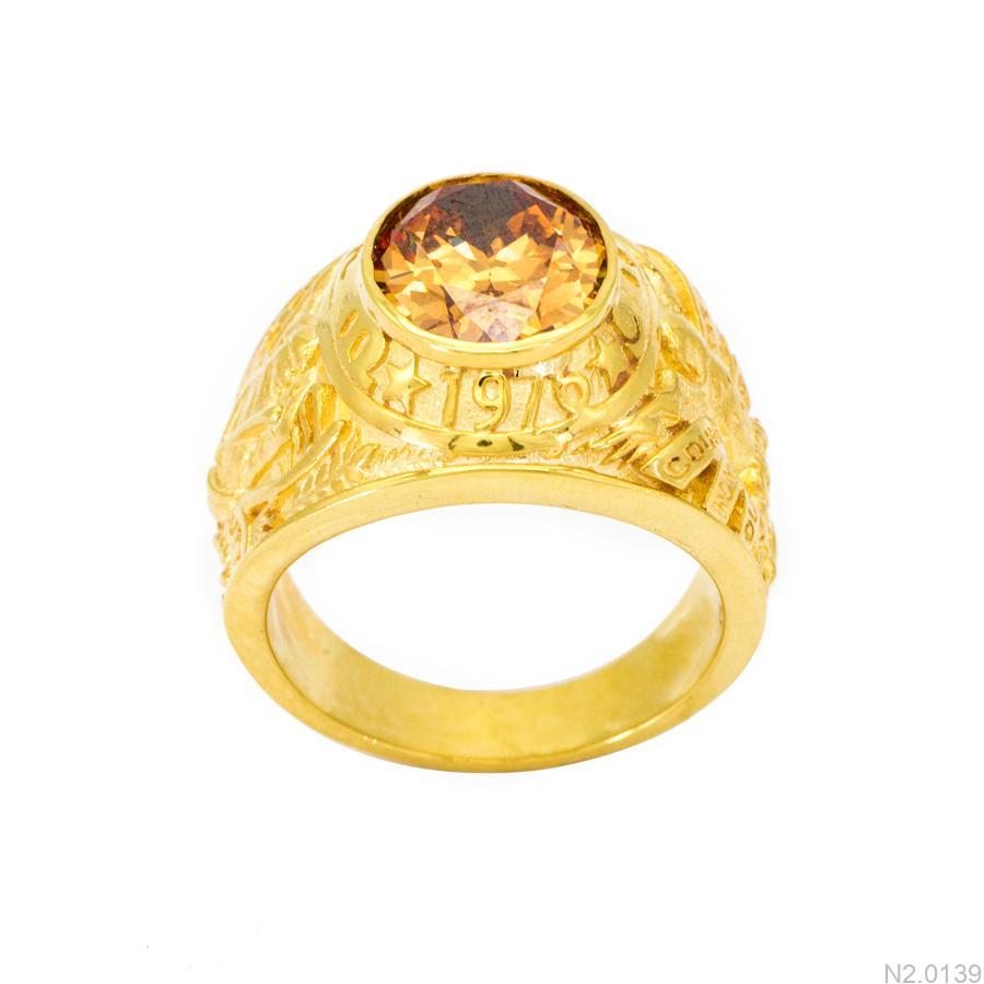 Nhẫn Nam Vàng Vàng 18k Đá Vàng - N2.0139