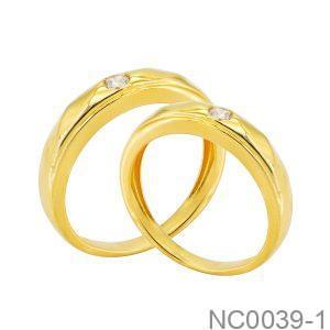 Nhẫn Cưới Vàng Vàng 18k Đính Đá Cz - NC0039-1