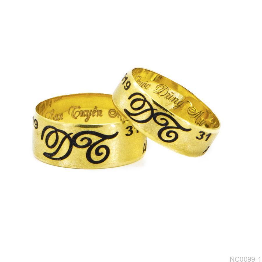 NC0099-1-2 Nhẫn cưới khắc tên