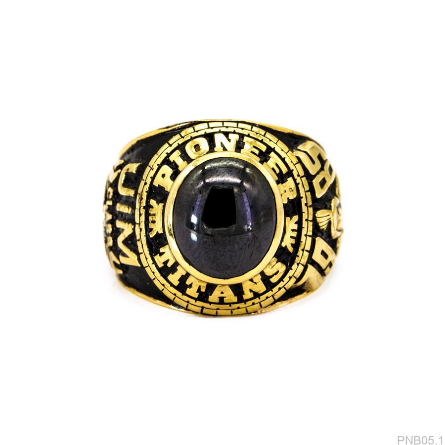 PNB05.1-1 Nhẫn mỹ cho nam vàng 10k đá đen mệnh thủy
