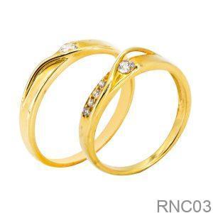 Nhẫn Cưới Vàng Vàng 18k Đính Đá Cz - RNC03