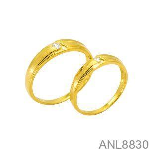 Nhẫn Cưới Vàng Vàng 18K Đính Đá CZ - ANL8830