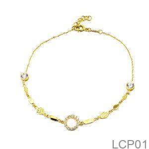 Lắc Chân Vàng 18K Đính Đá CZ - LCP01