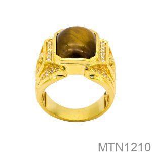Nhẫn Nam Rồng Vàng Vàng 18K Đá Nâu - MTN1210