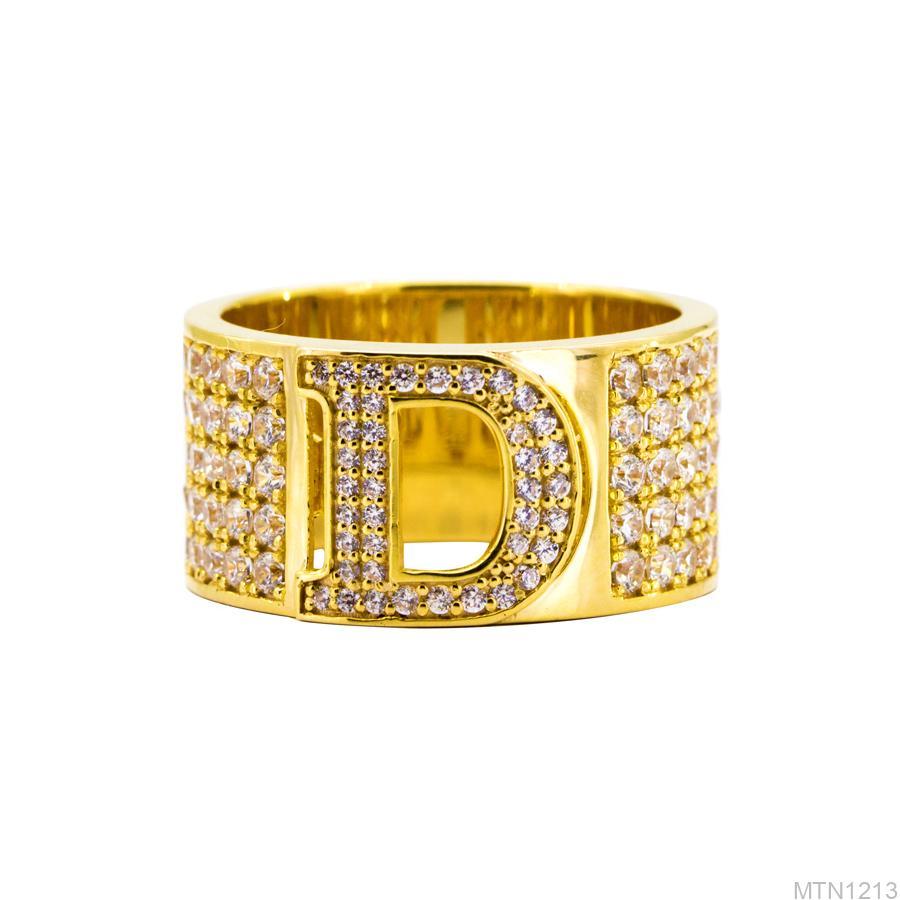 MTN1213-2 Nhẫn nam vàng 18k mặt chữ D đá CZ