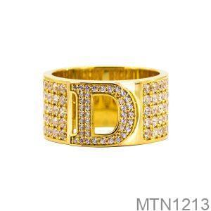 Nhẫn Nam Chữ D Vàng Vàng 18K Đá Trắng - MTN1213