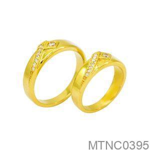 Nhẫn Cưới Vàng Vàng 10k Đính Đá CZ - MTNC0395