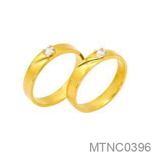Nhẫn Cưới Vàng Vàng 18K Đính Đá CZ - MTNC0396