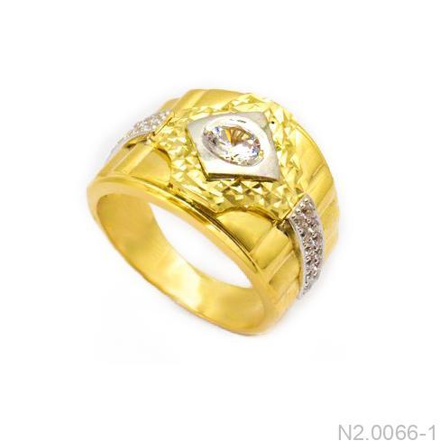 Nhẫn Nam Hai Màu Vàng 18k Đá Trắng - N2.0066-1