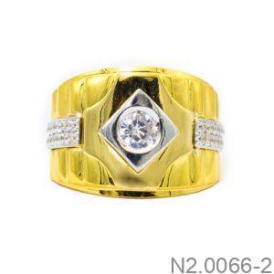 Nhẫn Nam Hai Màu 18k Đính Đá CZ - N2.0066-2