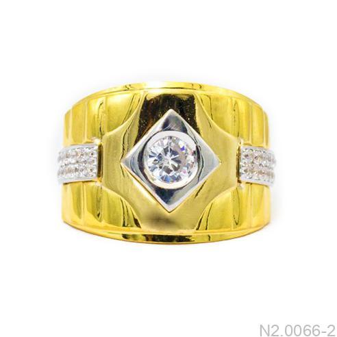 Nhẫn Nam Hai Màu Vàng 18k Đá Trắng - N2.0066-2