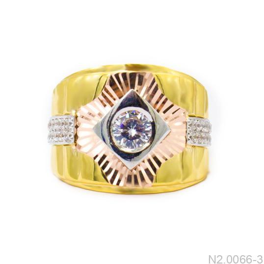 Nhẫn Nam Hai Màu Vàng 18K Đá Trắng - N2.0066-3