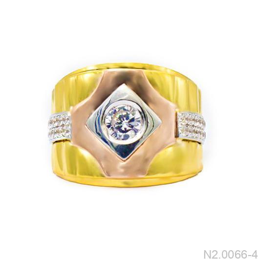 Nhẫn Nam Hai Màu Vàng 18k Đá Trắng - N2.0066-4