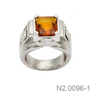 Nhẫn Nam Vàng Trắng 14K Đính Đá CZ - N2.0096-1
