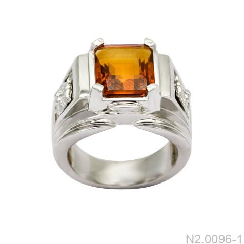 Nhẫn Nam Vàng Trắng 14K Đá Cam - N2.0096-1