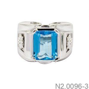 N2.0096-3-2 Nhẫn nam vàng trắng 14k đẹp APJ đá CZ xanh ngọc