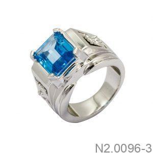 Nhẫn Nam Vàng Trắng 14K Đá Xanh Dương - N2.0096-3