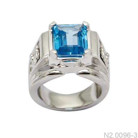 N2.0096-3 Nhẫn nam vàng trắng 14k đẹp APJ đá CZ xanh ngọc