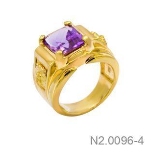 Nhẫn Nam Vàng Vàng 14K Đá Hồng - N2.0096-4