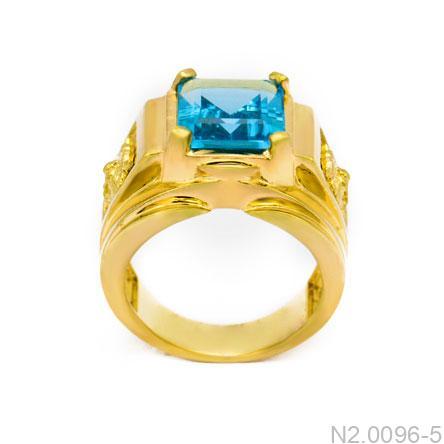 Nhẫn Nam Vàng Vàng 14K Đá Xanh Dương - N2.0096-5