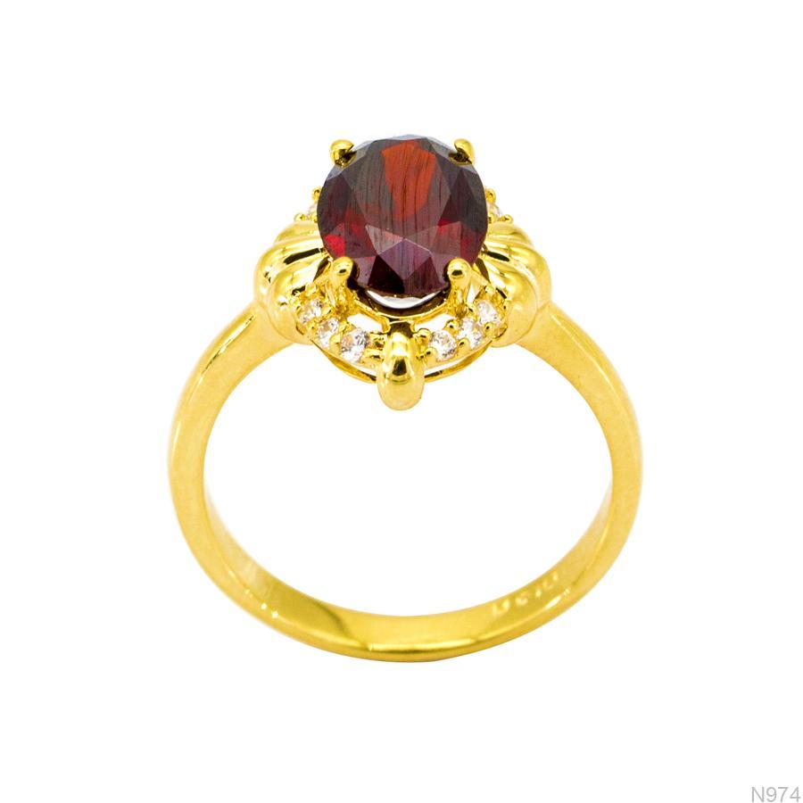 N974 Nhẫn đính hôn đá đỏ ruby vàng 18k