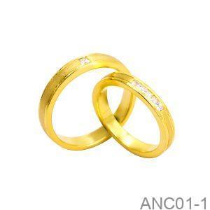 Nhẫn Cưới Vàng Vàng 18K Đính Đá CZ - ANC01-1