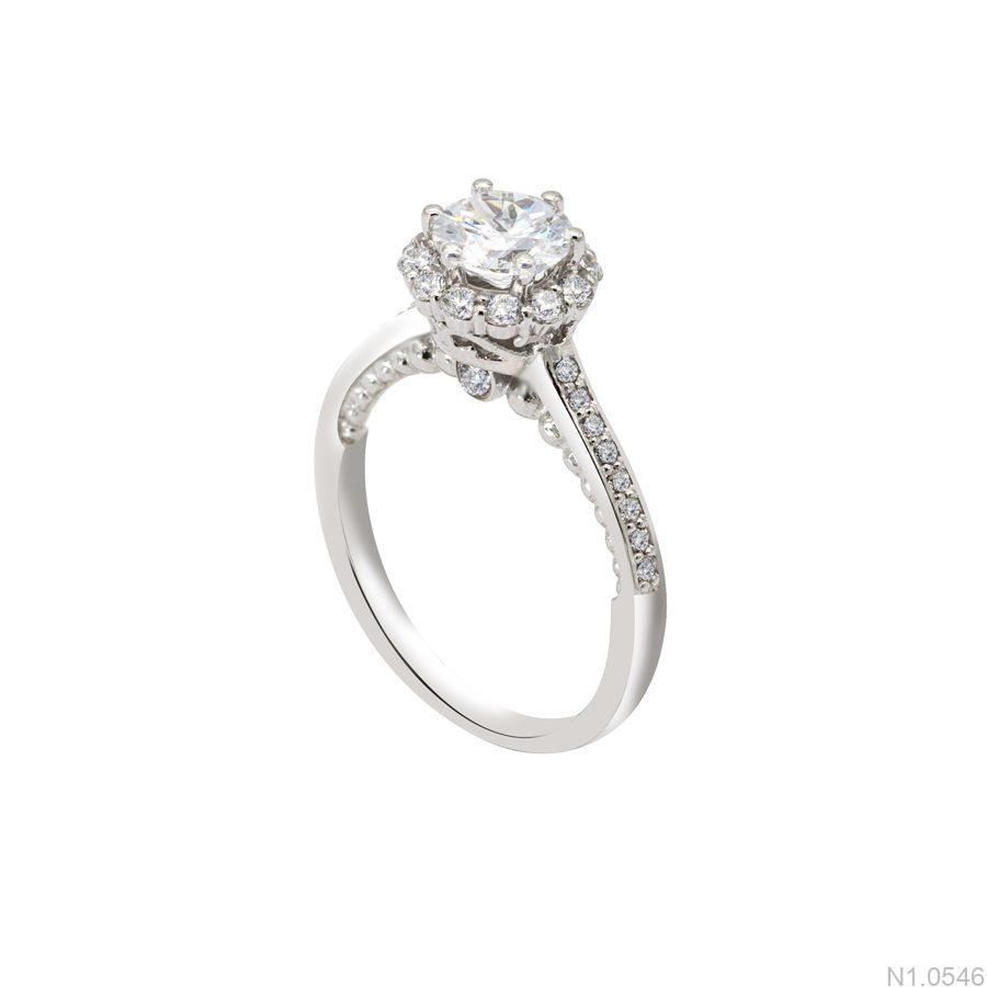 N1.0546-1 Nhẫn đính hôn vàng trắng 10k đẹp giá rẻ