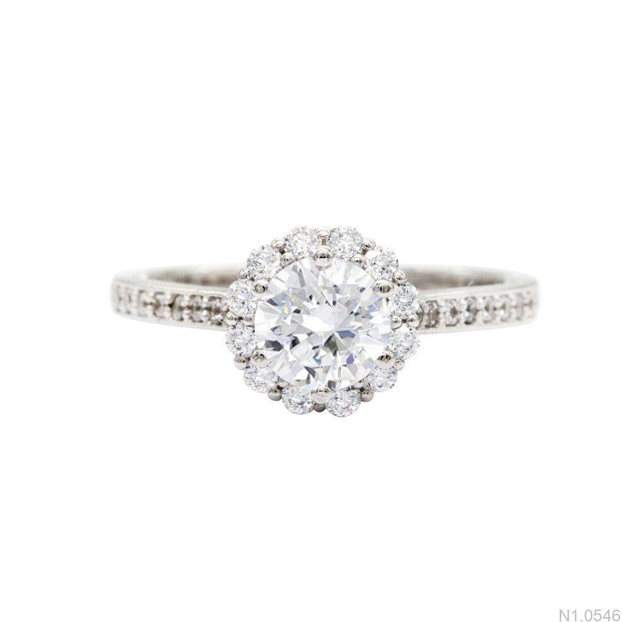 N1.0546-2 Nhẫn đính hôn vàng trắng 10k đẹp giá rẻ