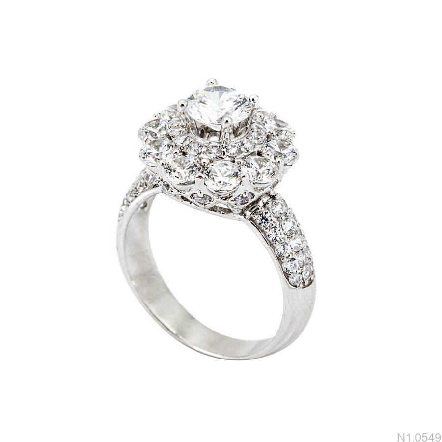 Nhẫn đính hôn vàng trắng APJ kiểu dáng hoa hồng N1.0549-1