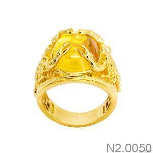 Nhẫn Nam Bọ Cạp Vàng Vàng 18K Đá Vàng - N2.0050