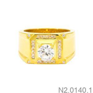 Nhẫn Nam Vàng Vàng 10K Đá Trắng - N2.0140.1